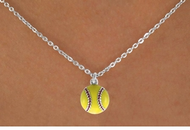 "<Br>            LEAD & NICKEL FREE!!<BR>   W14630N - YELLOW SOFTBALL<Br>CHILDREN'S 12"" CHAIN NECKLACE<BR>            FROM $3.55 TO $7.50"