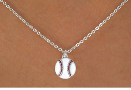 "<Br>            LEAD & NICKEL FREE!!<BR>     W14644N - BASEBALL ON A<Br>CHILDREN'S 12"" CHAIN NECKLACE<BR>                  AS LOW AS $3.55"