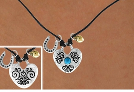<Br>                LEAD & NICKEL FREE!!<Br>W14972NE - DOUBLE SIDED FILIGREE<br>        TURQUOISE ACCENTED HEART<Br>         NECKLACE AND EARRING SET<Br>                FROM $5.06 TO $11.25