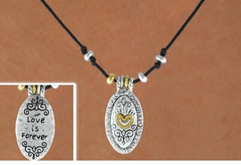 "<Br>                 LEAD & NICKEL FREE!!<Br> W14980NE - DOUBLE SIDED 2-TONE<br>""LOVE IS FOREVER"" OVAL WITH HEART<Br>          NECKLACE AND EARRING SET<Br>            FROM $5.06 TO $11.25"