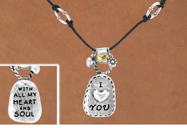 "<Br>               LEAD & NICKEL FREE!!<Br>W14982NE - ""I LOVE YOU"" DOUBLE<br>   SIDED NECKLACE & EARRING SET<br>              FROM $5.06 TO $11.25"