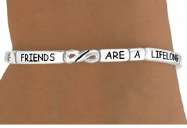 "<Br>                  LEAD & NICKEL FREE!!<Br>W14998B - ""FRIENDS ARE A LIFELONG<br>     TREASURE"" STACKABLE STRETCH<Br>           BRACELET AS LOW AS $3.15"