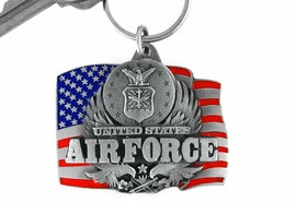<Br>                  LEAD & NICKEL FREE!!!<Br>W15078KC - UNITED STATES AIR FORCE<br>       AMERICAN FLAG ARMED FORCES<br>                       KEY CHAIN AS LOW AS $2.99