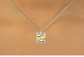 "<Br>              LEAD & NICKEL FREE!!<br>W15098N - TWO-TONE MINIATURE<Br>               ""SISTERS"" NECKLACE <BR>                       AS LOW AS $3.65"