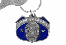 "<Br>              LEAD & NICKEL FREE!!<Br>W15135KC - ""AMERICAN LAWMAN""<Br>        PEWTER AND BLUE ENAMEL<Br>       KEY CHAIN AS LOW AS $1.99"