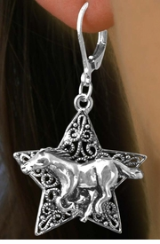 <Br>             LEAD & NICKEL FREE!!<Br>W15657E - DECORATIVE WESTERN<Br>        STAR & HORSE EURO WIRE<Br>  EARRINGS FROM $3.94 TO $8.75