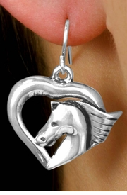 <bR>           LEAD & NICKEL FREE!!<Br>     W15659E - HORSE & HEART<Br>EARRINGS FROM $3.38 TO $7.50