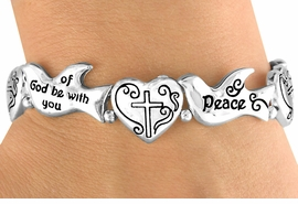 """<Br>                 LEAD & NICKEL FREE!!<Br>   W15861B - RELIGIOUS CHRISTIAN<Br>""""PEACE OF GOD BE WITH YOU"""" DOVE<Br>     & HEART LINK MAGNETIC CLASP<Br>    BRACELET FROM $7.95 TO $15.00"""