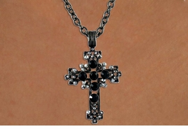 <Br>              LEAD & NICKEL FREE!!<Br>W15914N - ONYX BLACK & SMOKE<Br>         AUSTRIAN CRYSTAL CROSS<bR>  NECKLACE FROM $5.06 TO $11.25