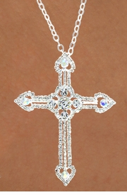 "<Br>             LEAD & NICKEL FREE!!<BR>   W15916N - AUSTRIAN CRYSTAL<Br>COVERED ""HEART TIPPED"" CROSS<Br> NECKLACE FROM $6.19 TO $13.75"
