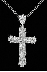 <Br>                  LEAD & NICKEL FREE!!<Br>W16036N - LARGE GENUINE AUSTRIAN<Br>     CRYSTAL CROSS NECKLACE FROM<Br>                          $7.31 TO 16.25