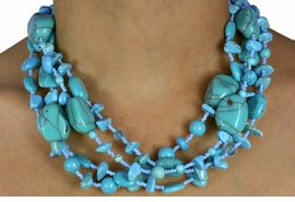 <Br>                    LEAD & NICKEL FREE!!<Br>W16037NE - FOUR STRAND TURQUOISE<Br>STONE & SKY BLUE BEADED NECKLACE<Br>  & EARRINGS FROM $14.63 TO $32.50