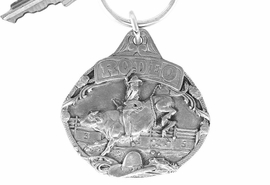 "<Br>              LEAD & NICKEL FREE!!<Br>      W16069KC - PEWTER FINISH<Br> ""RODEO"" SCULPTED BULL RIDER<Br>KEY CHAIN FROM $4.50 TO $10.00"