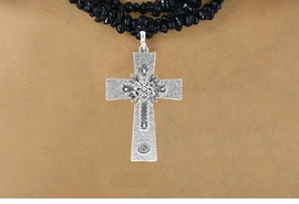 <Br>                     LEAD & NICKEL FREE!!<Br>      W16188NE - TEXTURED SILVER TONE<Br>CROSS PENDANT WITH AURORA BOREALIS<Br>   AUSTRIAN CRYSTAL ACCENTED FLOWER<Br>DECOR NECKLACE FROM $13.50 TO $30.00