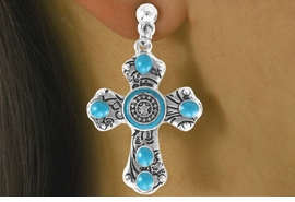 <Br>                    LEAD & NICKEL FREE!!<Br>       W16190NE - FILIGREE DECORATED<Br>TURQUOISE STONE & AUSTRIAN CRYSTAL<Br>   CROSS PENDANT & TOGGLE NECKLACE<Br>                  FROM $15.19 TO $33.75