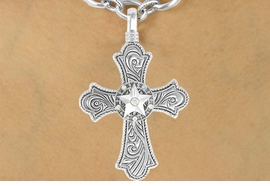 "<bR>                 LEAD & NICKEL FREE!!<Br>W16208N - ""SILVER SWIRL"" CROSS &<Br>      AURORA BOREALIS RAISED STAR<Br>PENDANT & TOGGLE CHAIN NECKLACE<Br>               FROM $11.81 TO $26.25"