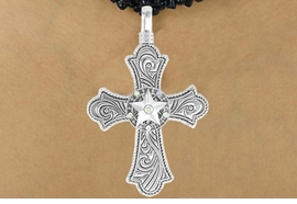 "<Br>                  LEAD & NICKEL FREE!!<Br>    W16211N - ""SILVER SWIRL"" CROSS<Br>     & AURORA BOREALIS RAISED STAR<Br>PENDANT & BLACK BEADED NECKLACE<Br>                FROM $12.94 TO $28.75"