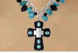 <Br>                   LEAD & NICKEL FREE!!<Br>W16325NE - GENUINE LEATHER CROSS<Br>  DROP PENDANT ON TURQUOISE FAUX<Br>     STONE & JET BLACK FACETED BEAD<Br>DECORATED NECKLACE & EARRING SET<bR>                 FROM $12.38 TO $27.50