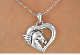 <Br>               LEAD & NICKEL FREE!!<Br>   W16337NE - SILVER TONE HEART<bR>    WITH HORSE HEAD NECKLACE &<Br>EARRING SET FROM $7.31 TO $16.25
