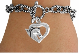 <Br>              LEAD & NICKEL FREE!!<Br>   W16338B - HORSE HEAD HEART<Br>& SILVER TONE TOGGLE BRACELET<Br>             FROM $5.06 TO $11.25