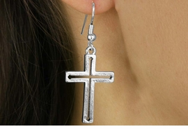 <Br>             LEAD & NICKEL FREE!!<Br>W16431E - SILVER TONE CUT-OUT<Br>  CENTER CROSS EARRINGS FROM<Br>                    $2.25 TO $5.00