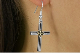 <Br>            LEAD & NICKEL FREE!!<Br>  W16432E - TWO-TONE CROSS<Br>EARRINGS FROM $2.25 TO $5.00