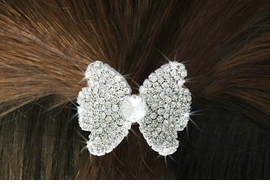 "<Br>            LEAD & NICKEL FREE!!<br>W16565HJ - GENUINE AUSTRIAN<Br>      CRYSTAL COVERED ""BOW""<Br>        PONYTAIL HOLDER FROM<BR>                 $9.00 TO $20.00"