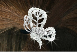 "<Br>             LEAD & NICKEL FREE!!<br> W16568HJ - GENUINE AUSTRIAN<Br>CRYSTAL COVERED ""BUTTERFLY""<Br>        PONYTAIL HOLDER FROM<BR>                  $7.85 TO $17.50"