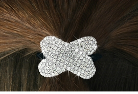 "<Br>            LEAD & NICKEL FREE!!<br>W16569HJ - GENUINE AUSTRIAN<Br>      CRYSTAL COVERED ""BOW""<Br>       PONYTAIL HOLDER FROM<BR>                 $9.00 TO $20.00"