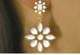 <Br>                  LEAD & NICKEL FREE!!<Br>     W16575EA - 2-STYLE GOLD TONE<Br>    TRIM FACETED WHITE FAUX STONE<Br>FLOWER DROP EARRING ASSORTMENT<Br>                 FROM $5.06 TO $10.13