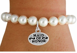 "<Br>               LEAD & NICKEL FREE!!<Br>    W16752B - CREAM COLOR FAUX<Br>PEARL & ""MAID OF HONOR"" CHARM<Br>     BRACELET FROM $6.13 TO $10.75"