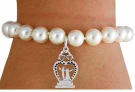 "<Br>                LEAD & NICKEL FREE!!<Br>    W16753B - CREAM COLOR FAUX<Br>PEARL & ""BRIDE & GROOM"" CHARM<Br>     BRACELET FROM $6.13 TO $10.75"
