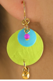 <Br>                LEAD & NICKEL FREE!!<Br>     W16973EA - 3-COLOR GENUINE<Br>          SHELL DISC DROP EARRING<BR>ASSORTMENT FROM $2.81 TO $5.63