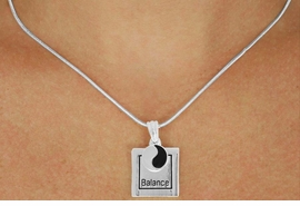 "<Br>              LEAD & NICKEL FREE!!<Br>  W17438N - SILVER TONE ""BALANCE""<Br>FRAME & YIN YANG CHARM NECKLACE<Br>             FROM $5.06 TO $11.25"