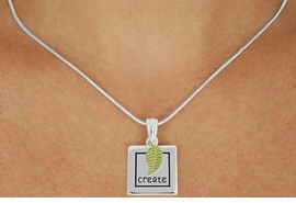 "<Br>              LEAD & NICKEL FREE!!<Br>     W17440N - TWO-TONE ""CREATE""<Br>FRAME & LEAF CHARM NECKLACE<Br>             FROM $5.06 TO $11.25"