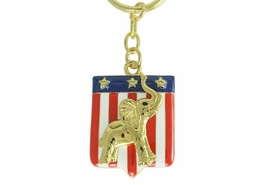 <Br>                LEAD & NICKEL FREE!!<Br>W17484KC - GOLD TONE REPUBLICAN<BR>        PARTY PATRIOTIC ELEPHANT<BR>KEY CHAIN FROM $5.63 TO $12.50