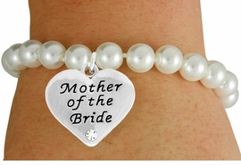 "<Br>               LEAD & NICKEL FREE!!<Br>    W17488B - CREAM COLOR FAUX<Br>PEARL & ""MOTHER OF THE BRIDE"" CHARM<Br>     BRACELET FROM $6.13 TO $10.75"