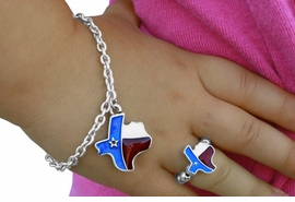 "<bR>                    LEAD & NICKEL FREE!!<Br>   W17552NBR - CHILDREN'S ""LONE STAR  <Br> STATE"" TEXAS NECKLACE, BRACELET, & <bR>       RING SET FROM $3.94 TO $8.75"