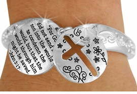 "<Br>                 LEAD & NICKEL FREE!!<BR>  W17618B - ""GOD'S SON"" JOHN 3:17<Br>CROSS & SCRIPTURE CHARM TOGGLE<br>     BRACELET FROM $6.19 TO $13.75"