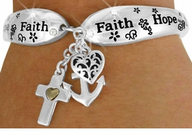 "<Br>            LEAD & NICKEL FREE!!<BR> W17620B - ""LOVE HOPE FAITH""<Br>          TRIPLE CHARM TOGGLE<br>BRACELET FROM $6.19 TO $13.75"