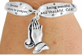 "<Br>                 LEAD & NICKEL FREE!!<BR>W17621B - ""PRAYING HANDS"" COL 4:2<Br>     CHARM TOGGLE BRACELET FROM<br>                        $6.19 TO $13.75"