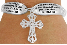 "<Br>              LEAD & NICKEL FREE!!<BR>W17623B - SCRIPTURE JOHN 3:16""<Br>            CROSS CHARM TOGGLE<br>  BRACELET FROM $6.19 TO $13.75"