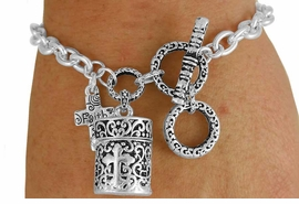 "<Br>                LEAD & NICKEL FREE!!<BR>W17627B - PRAYER BOX & ""FAITH""<bR> CROSS CHARM TOGGLE BRACELET<Br>              FROM $4.50 TO $10.00"