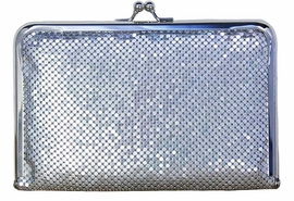 <Br>            LEAD & NICKEL FREE!!<Br>W17630HB - GLITTERING SILVER<Br> ALUMINUM MESH CLUTCH BAG<Br>   YOUR LOW PRICE JUST $23.85