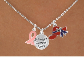 "<Br>               LEAD & NICKEL FREE!!<Br>W17664N - RED HAT ""STRENGTH, COURAGE,<Br>FAITH"" & PINK AWARENESS CHARM<Br>   NECKLACE FROM $5.85 TO $13.00"