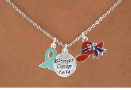 "<Br>               LEAD & NICKEL FREE!!<Br> W17667N - RED HAT ""STRENGTH, COURAGE,<Br>FAITH"" & TEAL AWARENESS CHARM<Br>   NECKLACE FROM $5.85 TO $13.00"