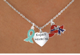 "<Br>               LEAD & NICKEL FREE!!<Br>   W17669N - RED HAT ""EXPECT MIRACLES""<Br>HEART & TEAL AWARENESS CHARM<Br>   NECKLACE FROM $5.85 TO $13.00"