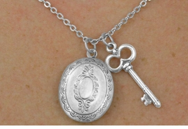 <Br>                 LEAD & NICKEL FREE!!<Br>W17859N - OVAL POLISHED SILVER<Br>  FINISH LOCKET WITH KEY CHARM<br>   NECKLACE FROM $3.35 TO $7.50