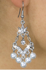 <Br>             LEAD & NICKEL FREE!!<Br>  W17942E - GENUINE AUSTRIAN<BR>        CRYSTAL & FAUX PEARL <Br>EARRINGS FROM $6.19 TO $13.75