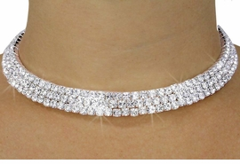 <BR>                     LEAD & NICKEL FREE!!<bR>    W18219N - POLISHED SILVER FINISH<br>   RHINESTONE CRYSTAL COLLAR<Br>   NECKLACE FROM $14.63 TO $27.00